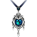 Empress Eugenie Blue Heart Diamond Pendant Necklace Pewter Alchemy P531