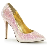 Rose Glitter Stiletto Pumps