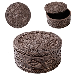 Aztec Round Bronze Box