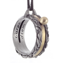 Pewter Laurel Leaf Sundial Ring Pendant